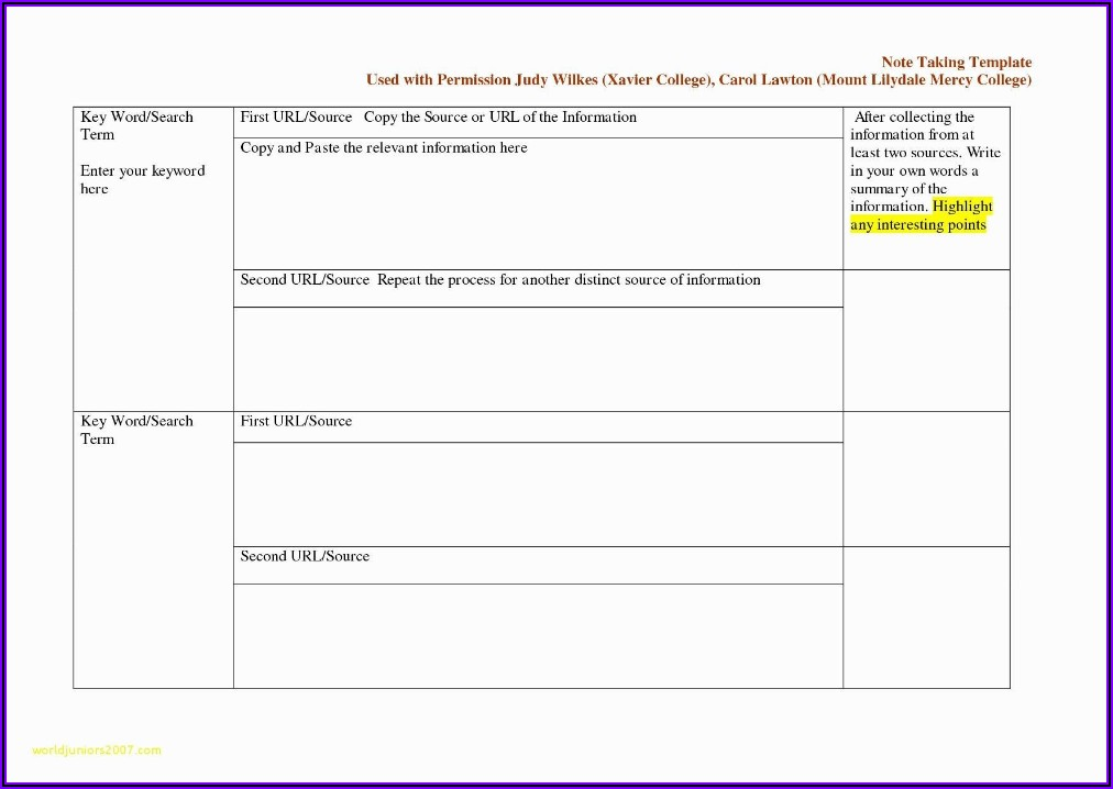 Word Template For Cornell Notes