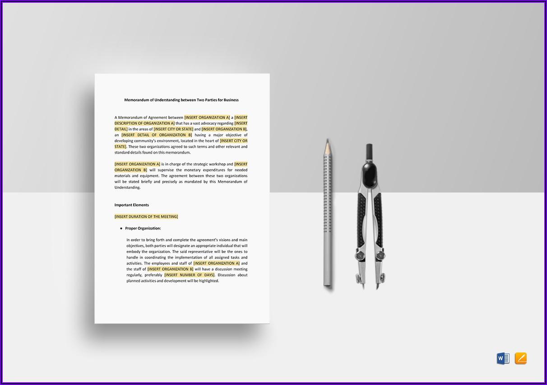 Word Template For Memorandum Of Understanding