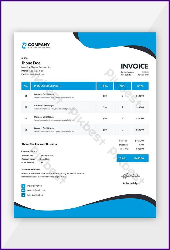 Word Template Invoice Free Download