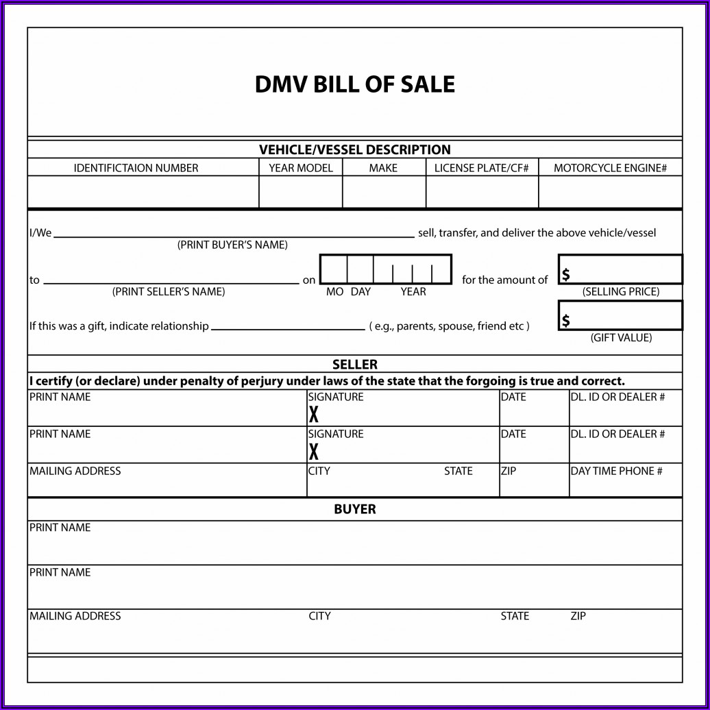 Word Template Vehicle Bill Of Sale