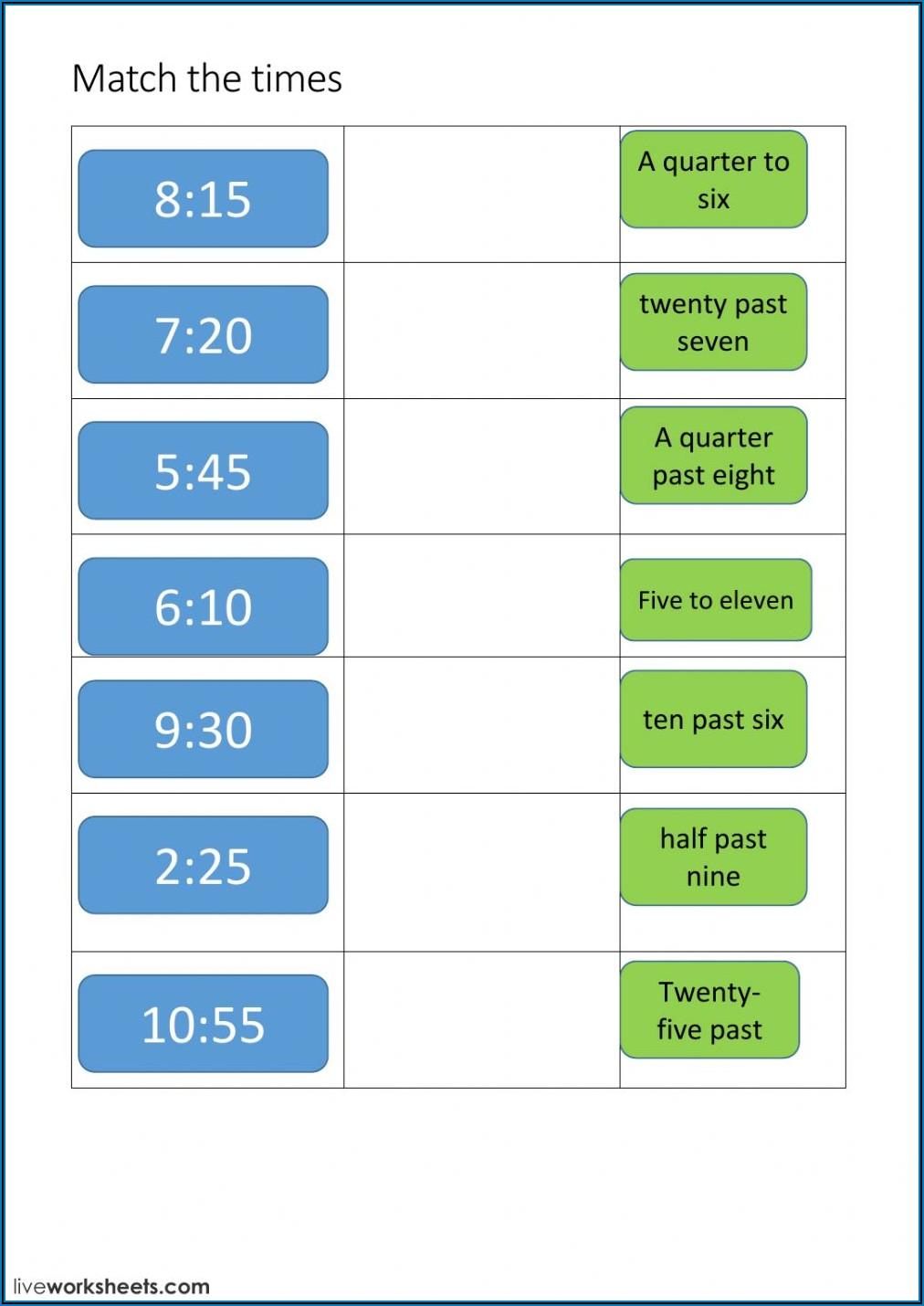 1.4 Telling Time Spanish Worksheet Answers