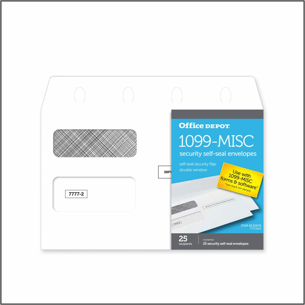 1099 Misc Self Seal Tax Form Window Envelopes