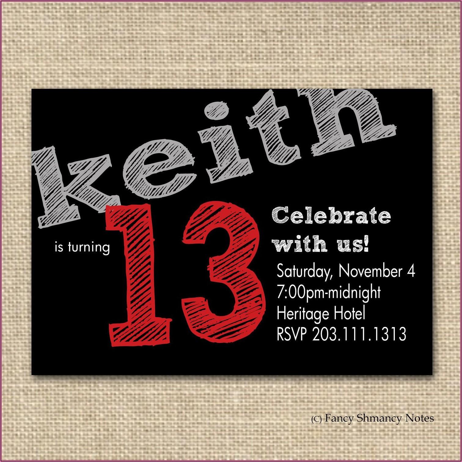 13th Birthday Invitation Wording Boy