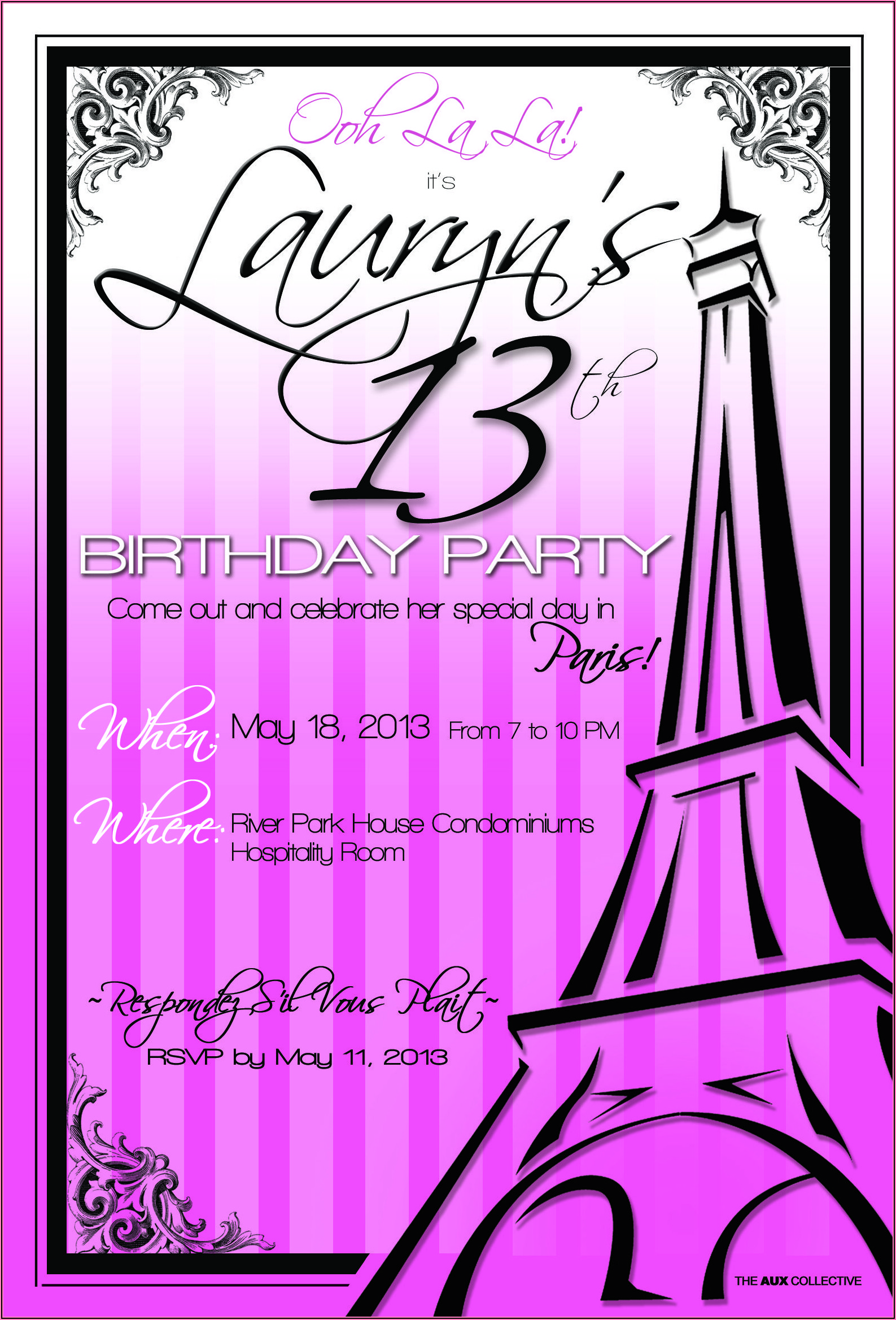 13th Birthday Invitations Templates