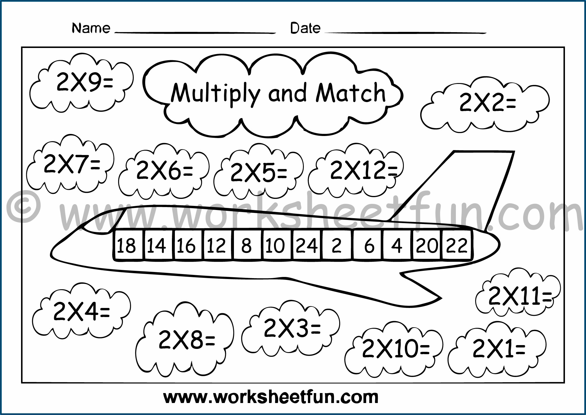 2 Times Table Coloring Worksheets
