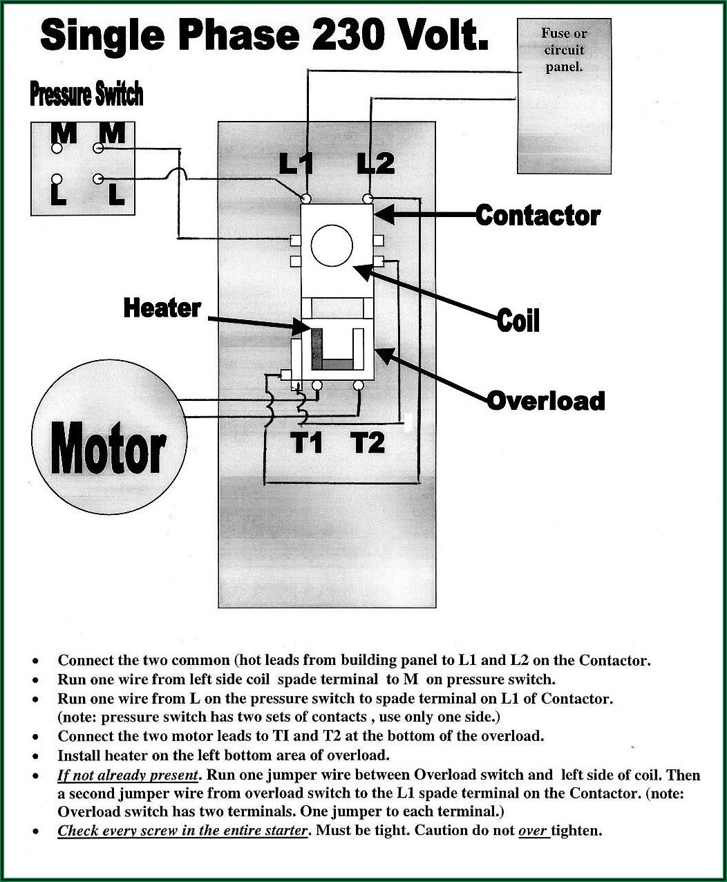 220v Single Phase Air Compressor Wiring Diagram
