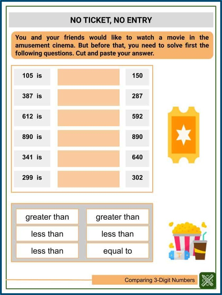 2nd Grade Comparing Numbers Worksheets