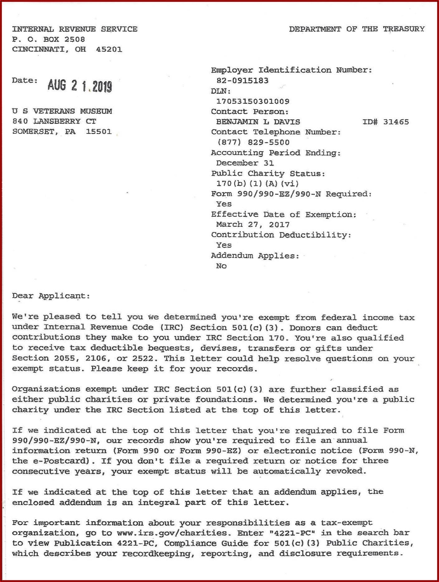 501c3 Determination Letter Lookup