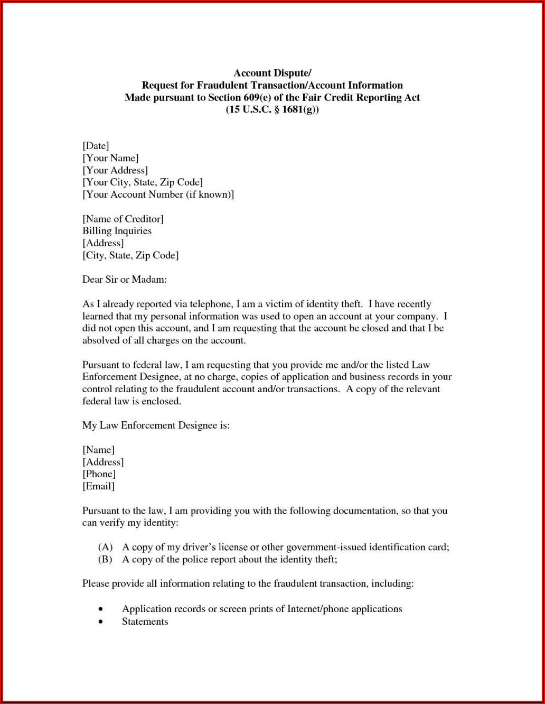 609 Credit Dispute Letter Sample