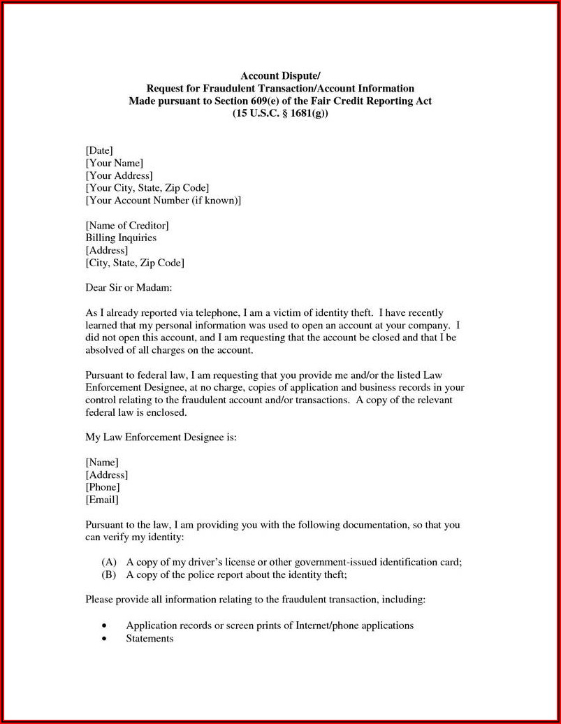 609 Dispute Letter Example