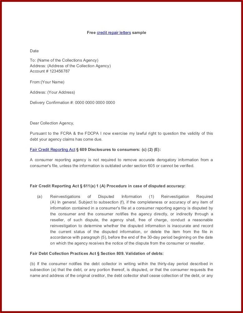 609 Dispute Letter Sample