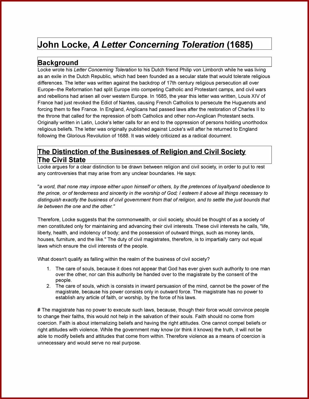 A Letter Concerning Toleration John Locke Summary