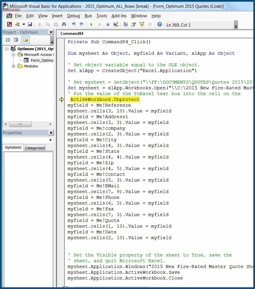 Access Vba Excel Sheet