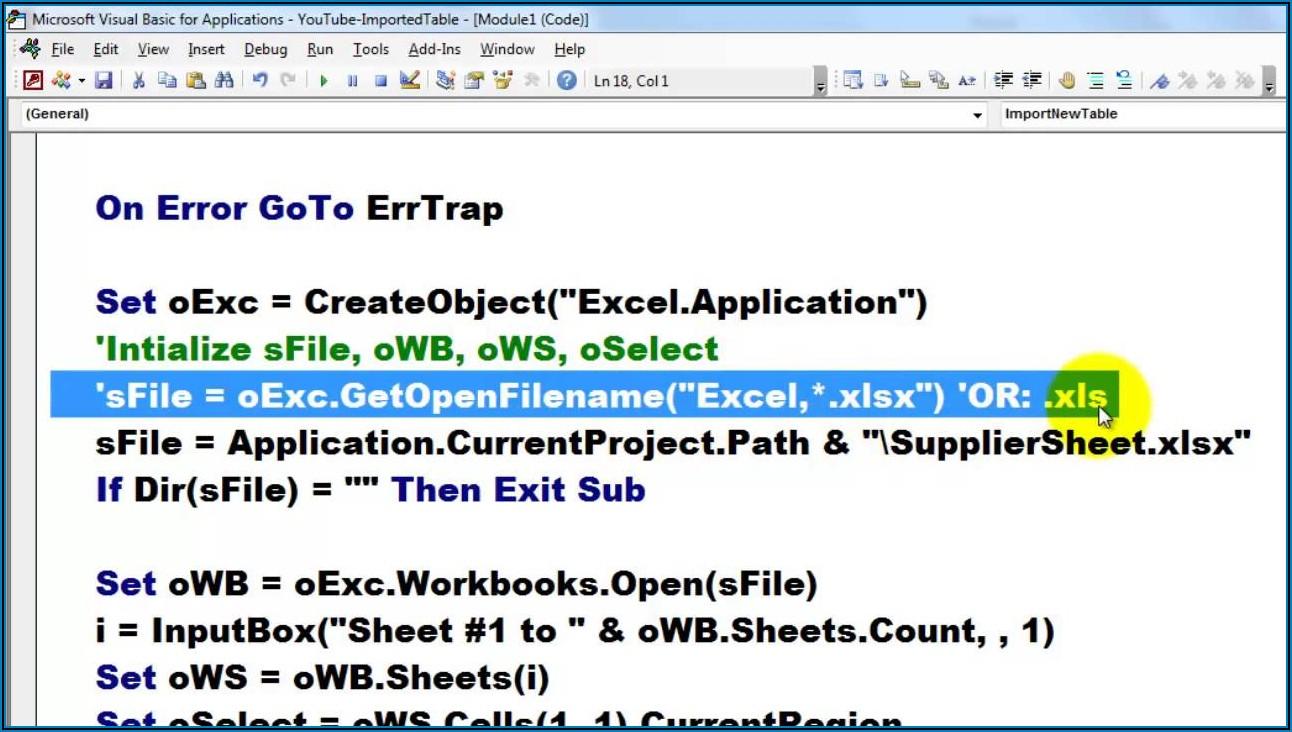 Access Vba Excel.workbook