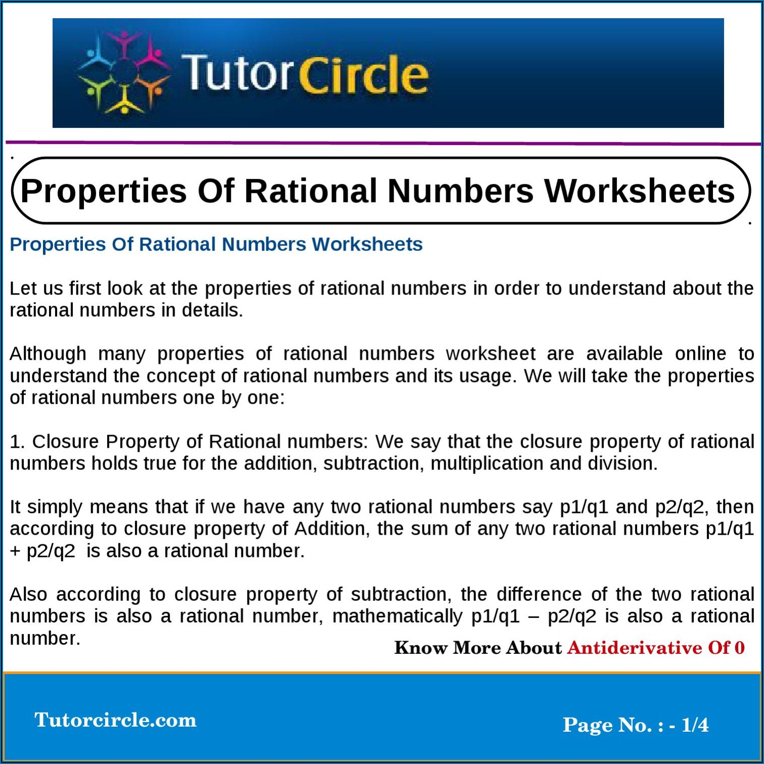Addition Subtraction Multiplication Division Of Rational Numbers Worksheet
