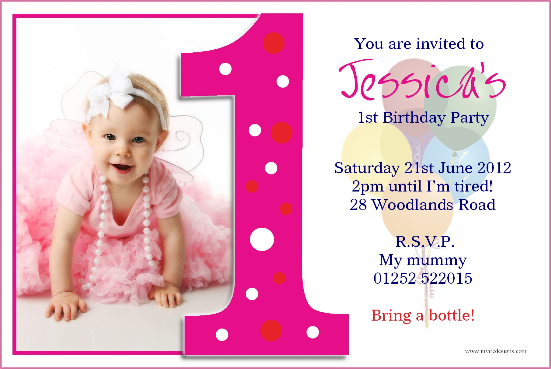 Baby Girl 1st Birthday Invitation Card In Marathi