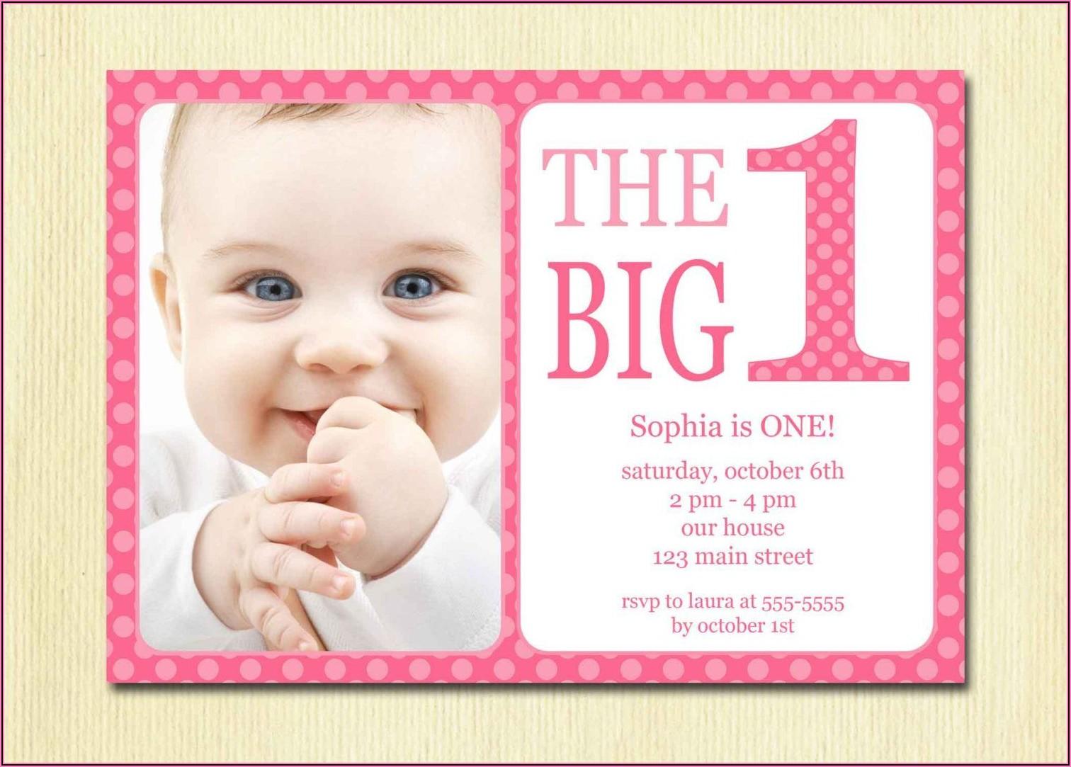 Baby Girl 1st Birthday Invitation Card