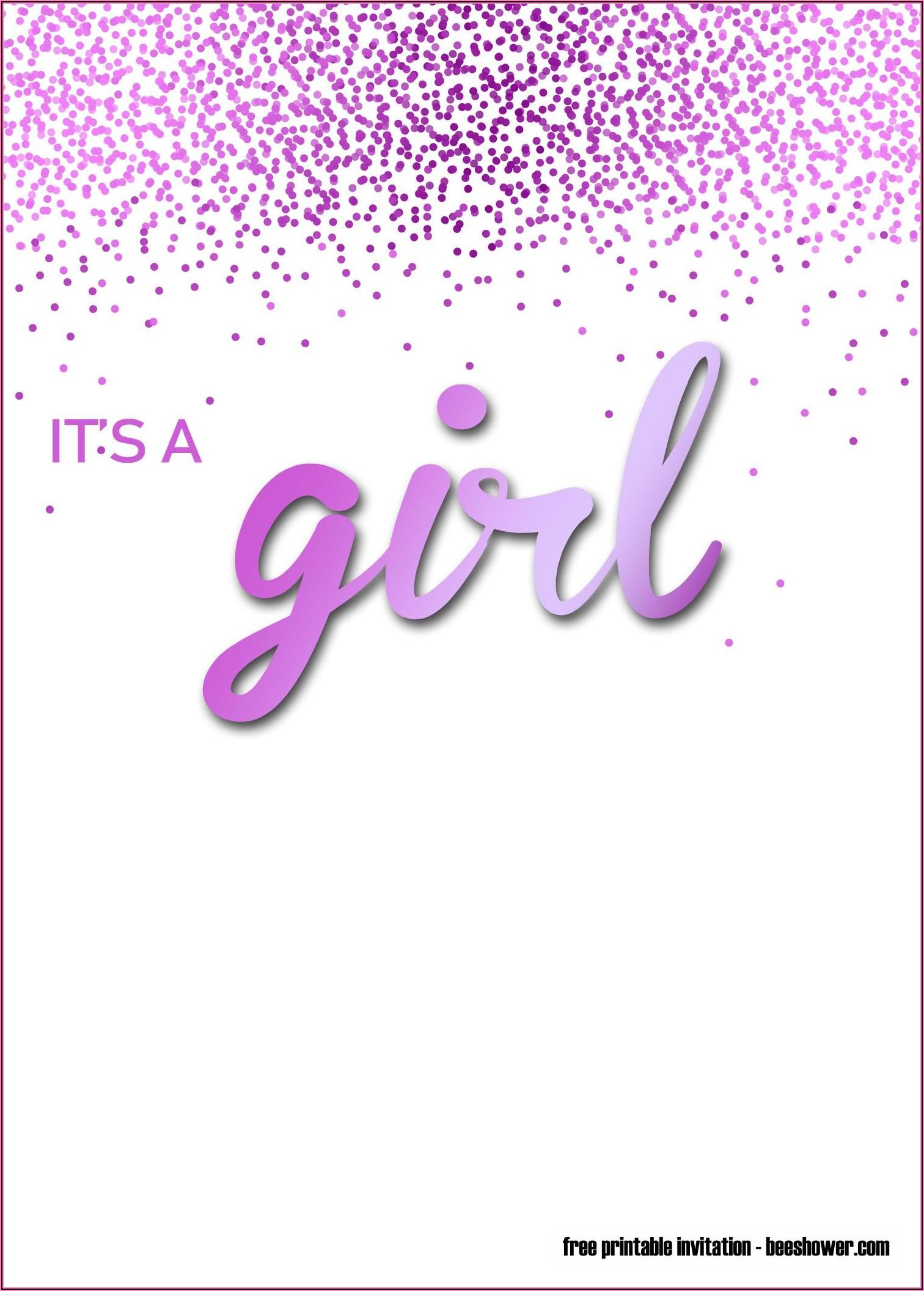 Baby Girl Invitations Templates