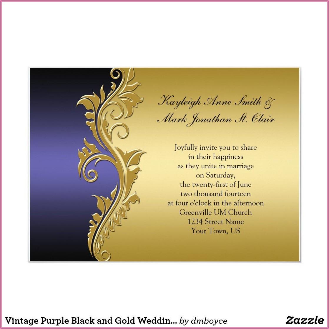 Black And Gold Wedding Invite Zazzle
