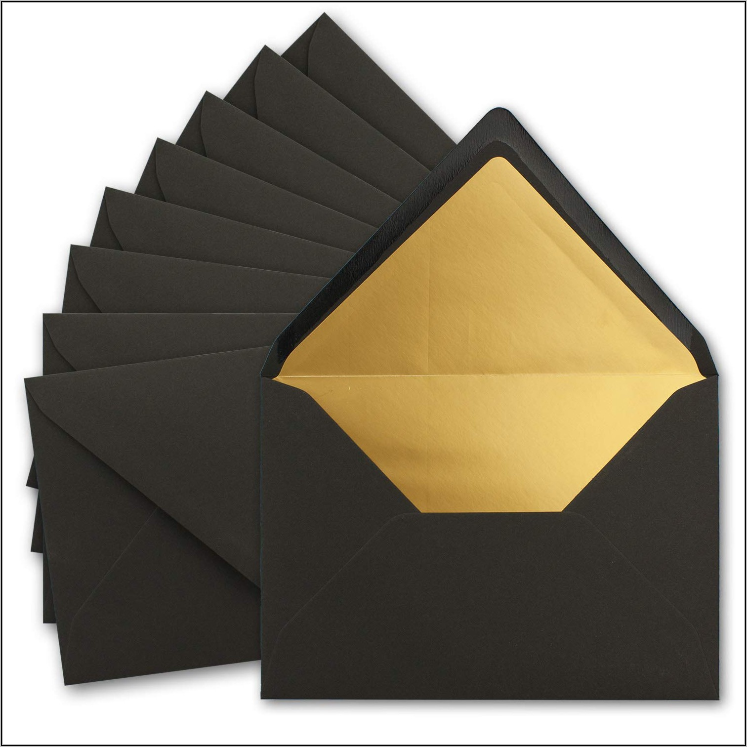 Black Envelopes With Gold Lining
