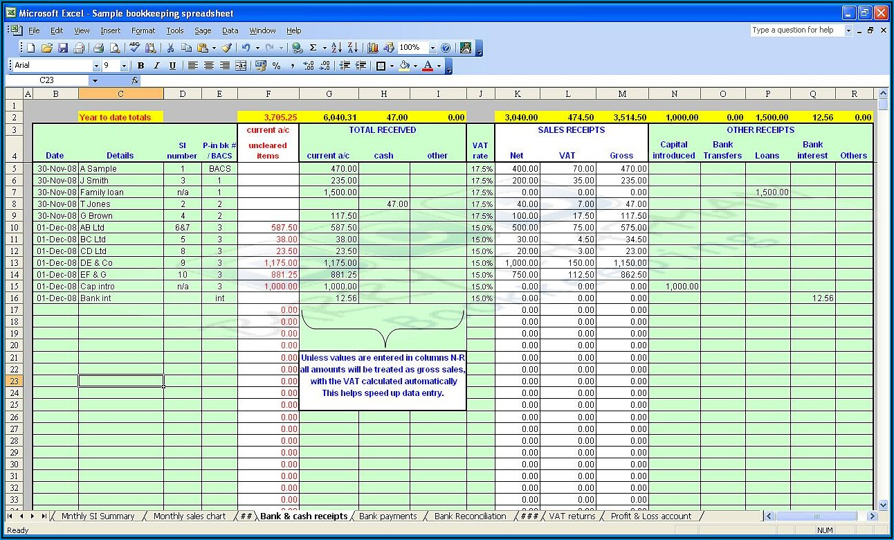 Bookkeeping Excel Spreadsheets Free Download Uk