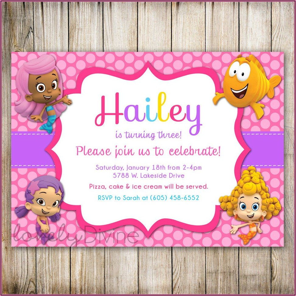 Bubble Guppies 1st Birthday Party Invitations