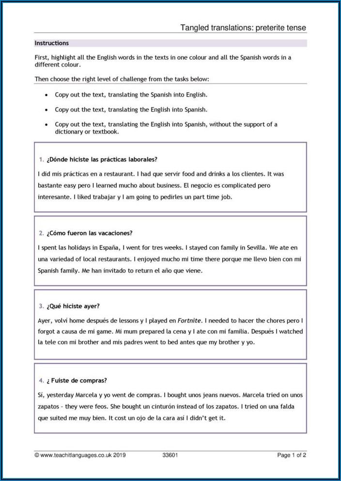 Budget Worksheet In Spanish
