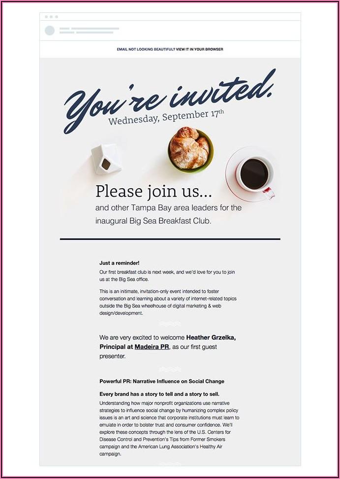 Business Dinner Invitation Sample Email