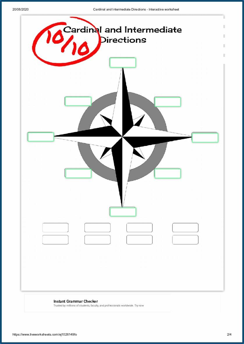 Cardinal And Intermediate Directions Worksheet Pdf