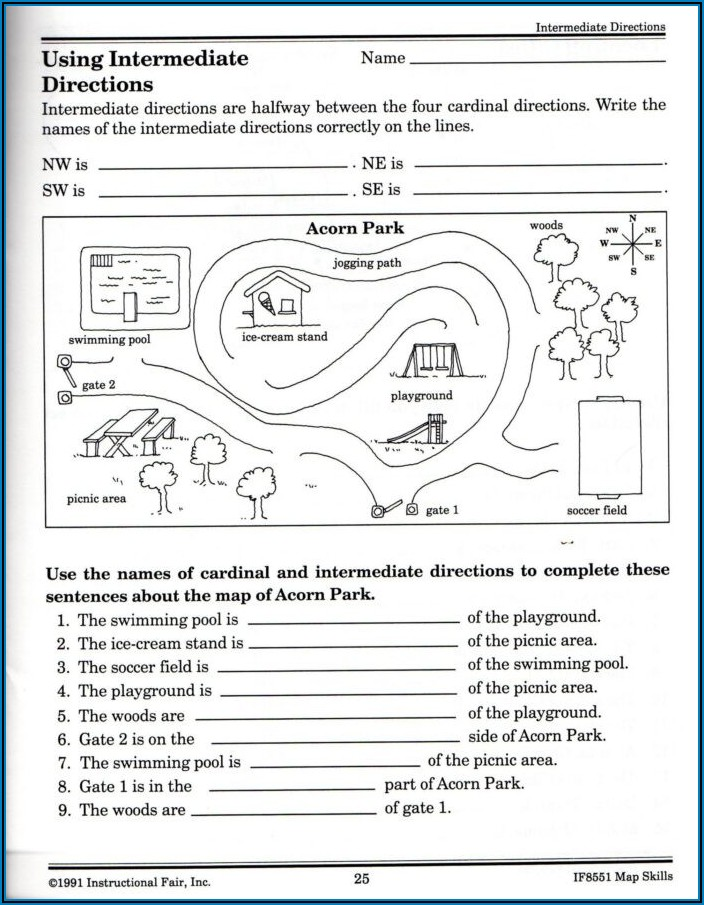 Cardinal And Intermediate Directions Worksheets
