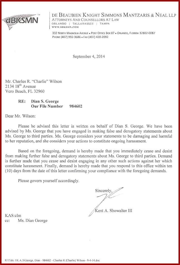Cease And Desist Letter Harassment Florida