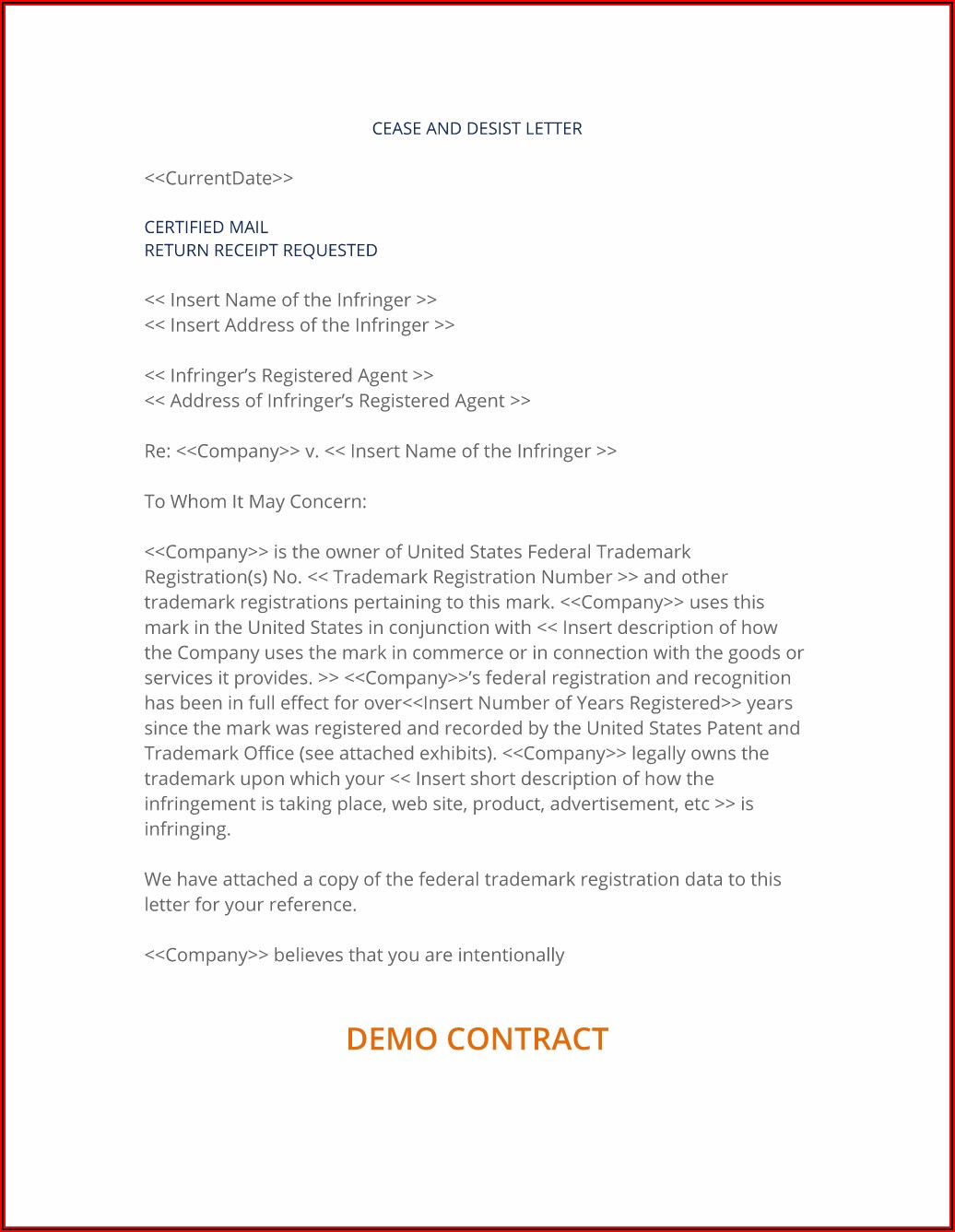 Cease And Desist Letter Harassment Ontario