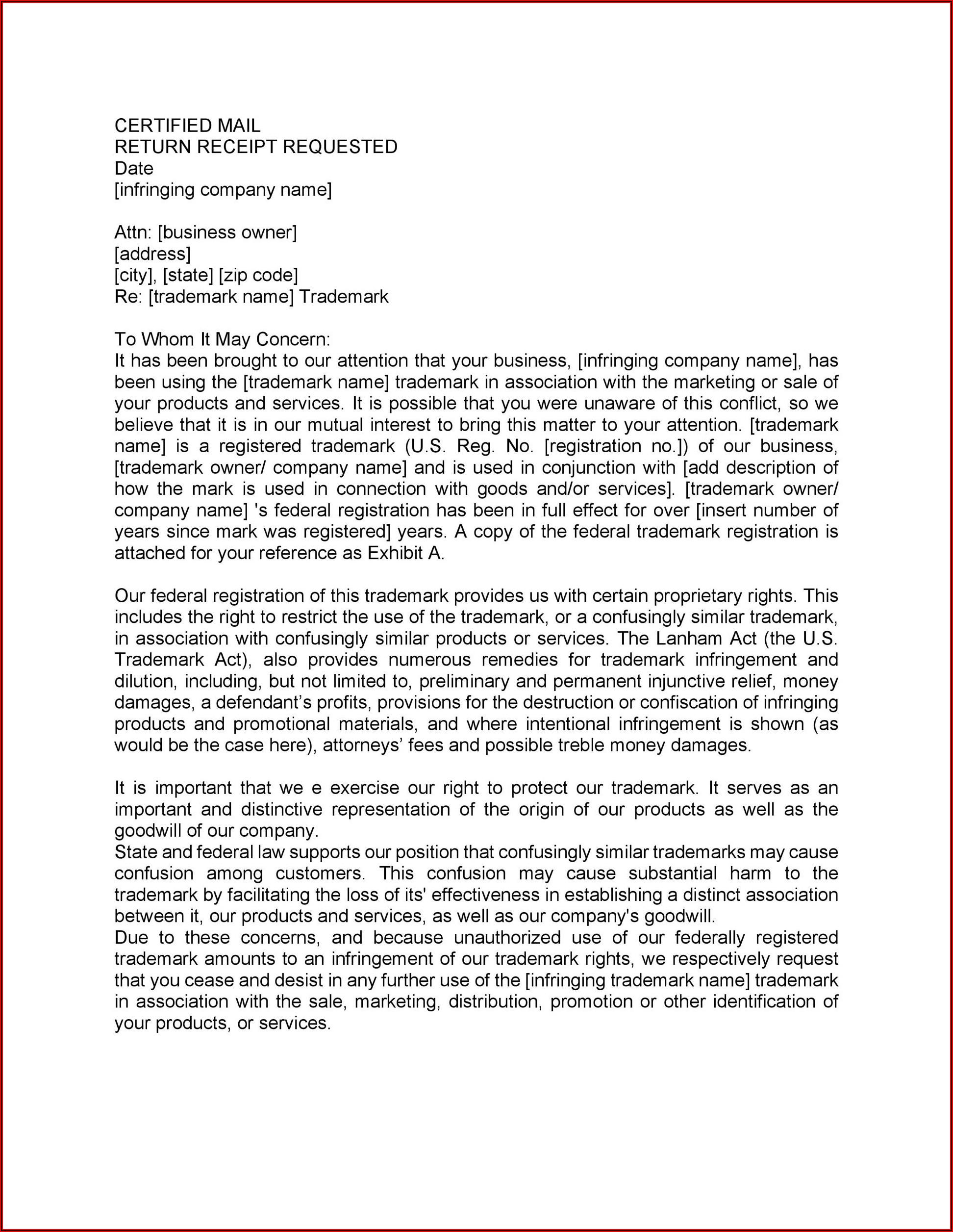 Cease And Desist Letter Harassment Sample