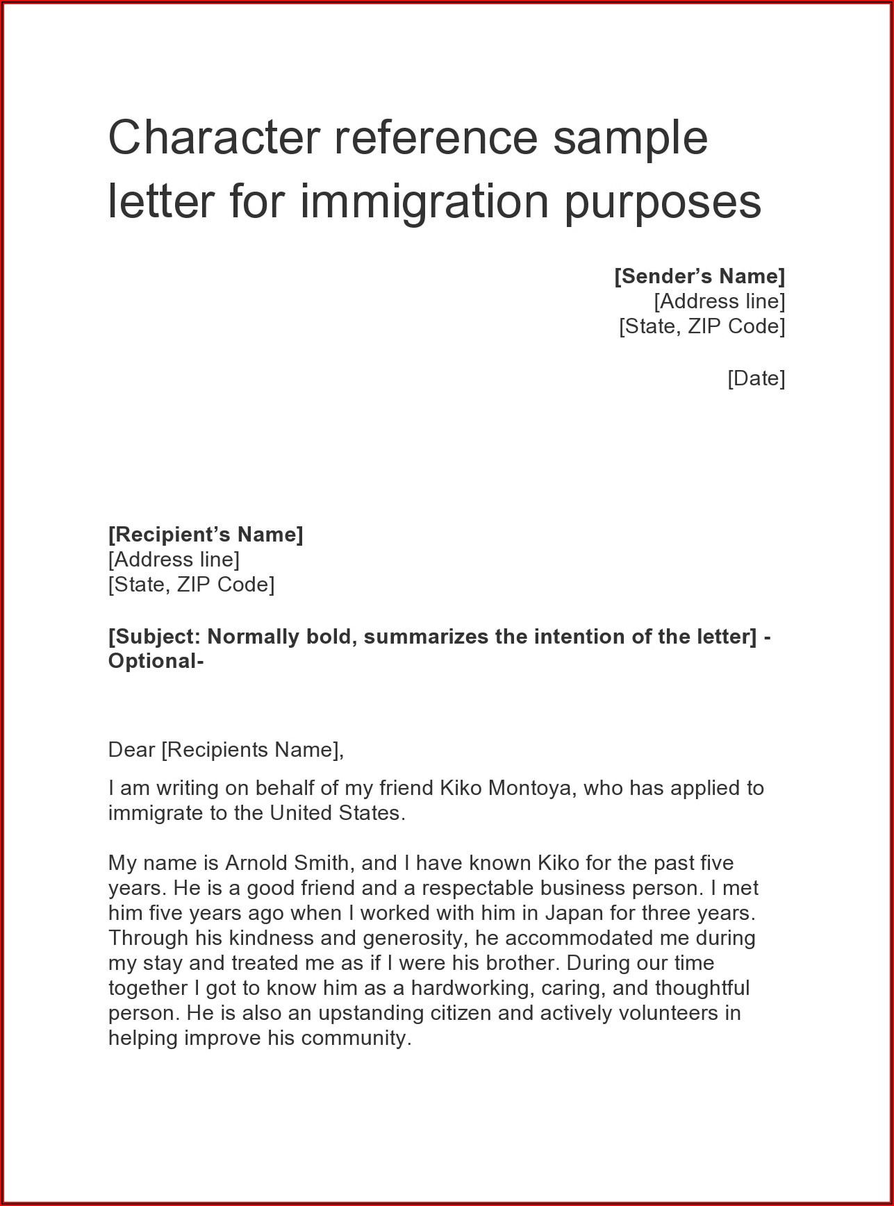 Character Reference Letter For A Friend For Immigration Purposes