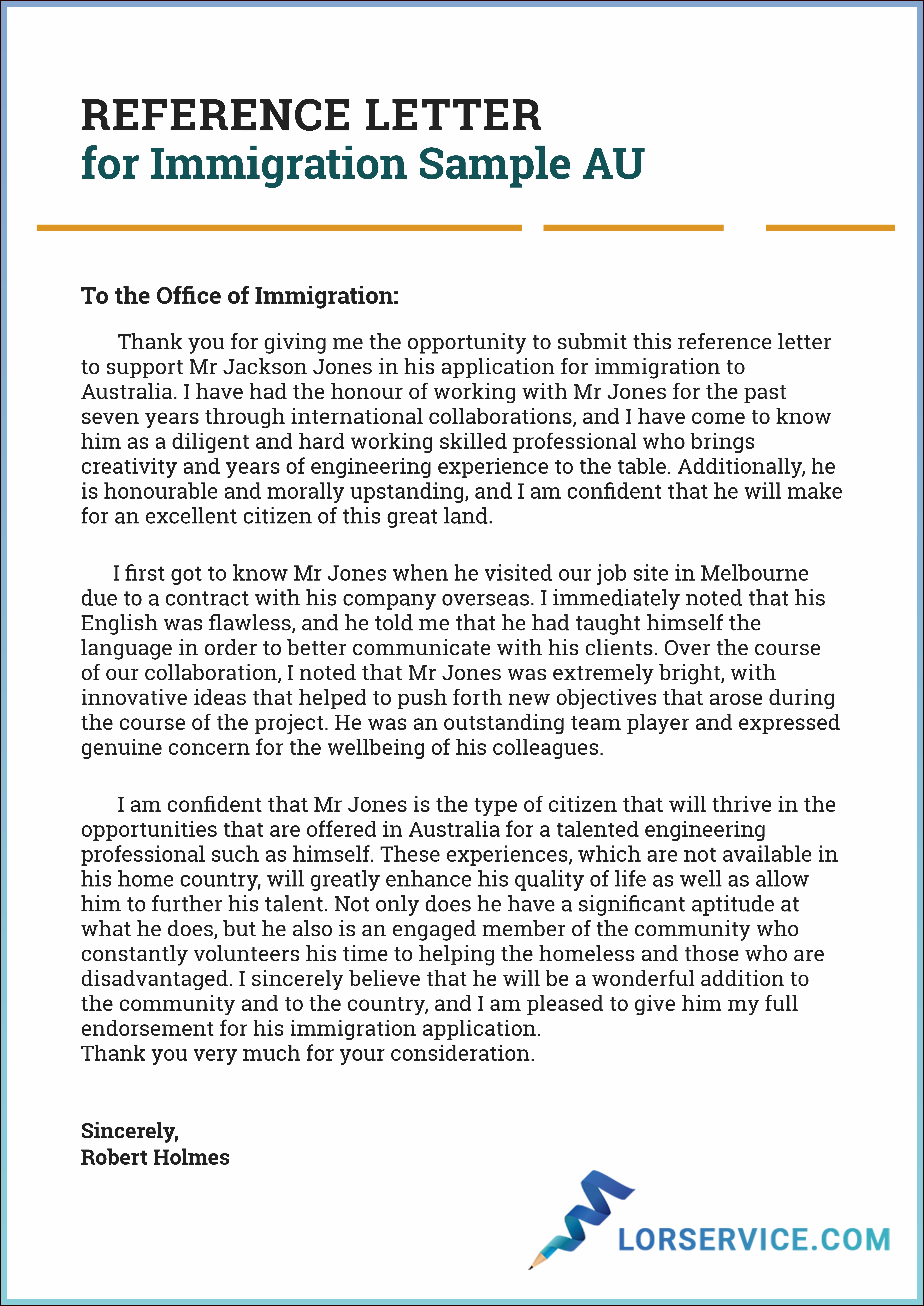 Character Reference Letter For Immigration Canada