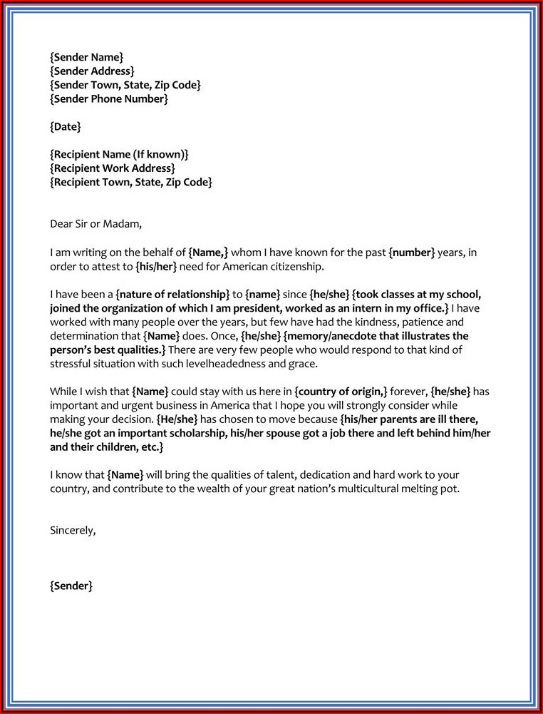 Character Reference Letter For Immigration Purposes Template