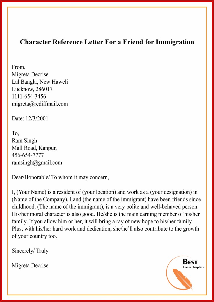 Character Reference Letter For Uk Immigration Sample