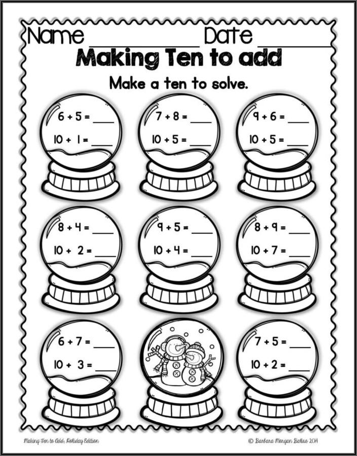 Christmas Math Worksheets For Kindergarten Free