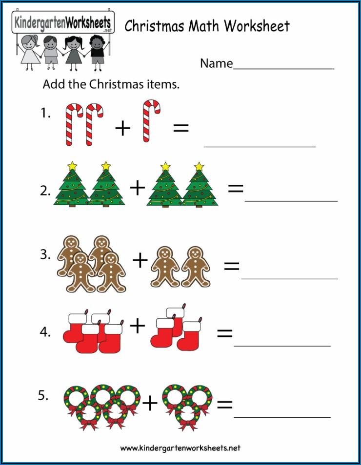 Christmas Math Worksheets For Kindergarten