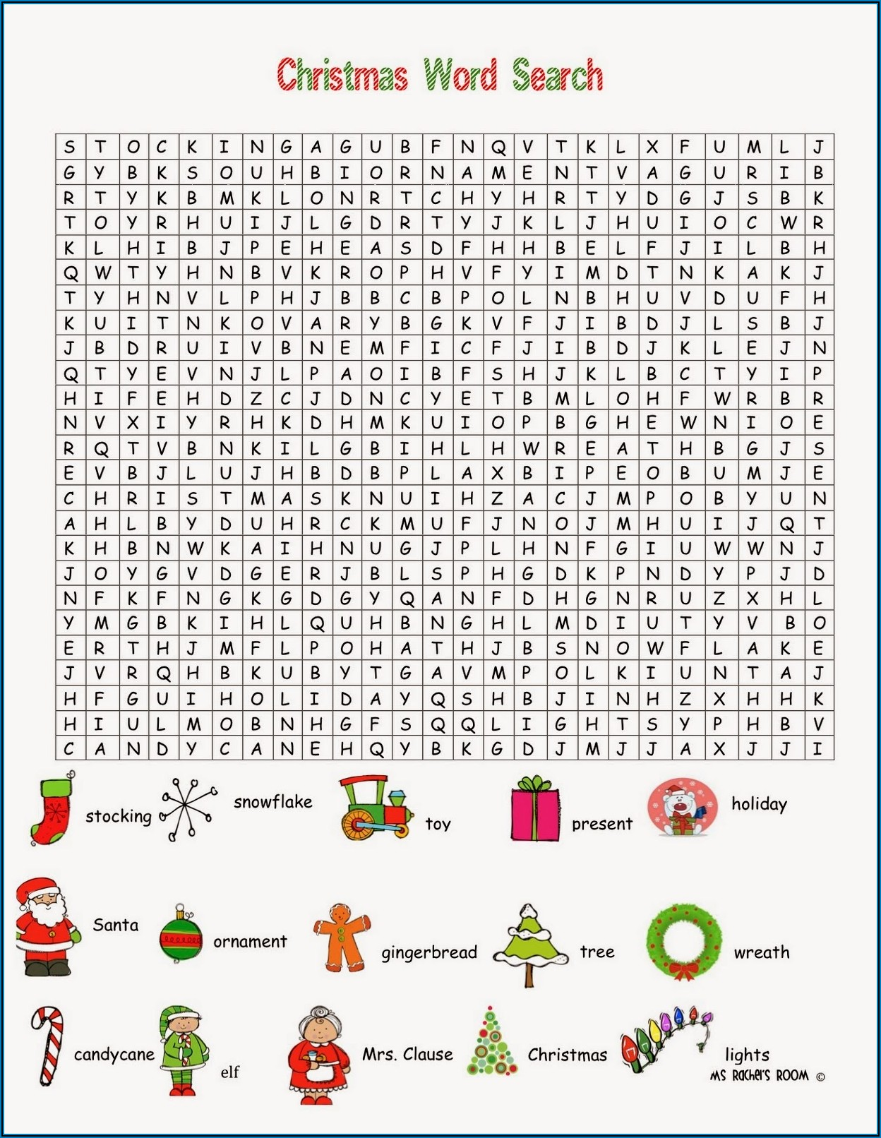Christmas Word Search Printables Middle School