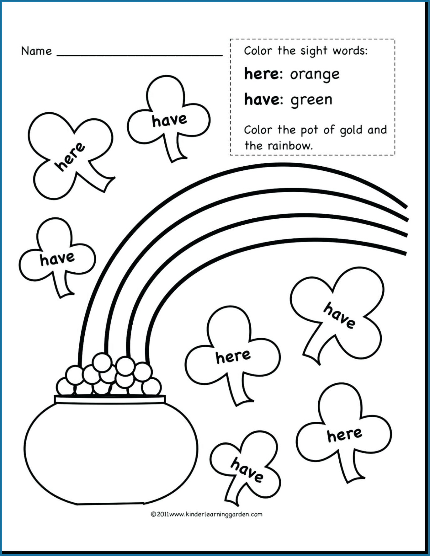 Coloring Worksheet For Sight Words