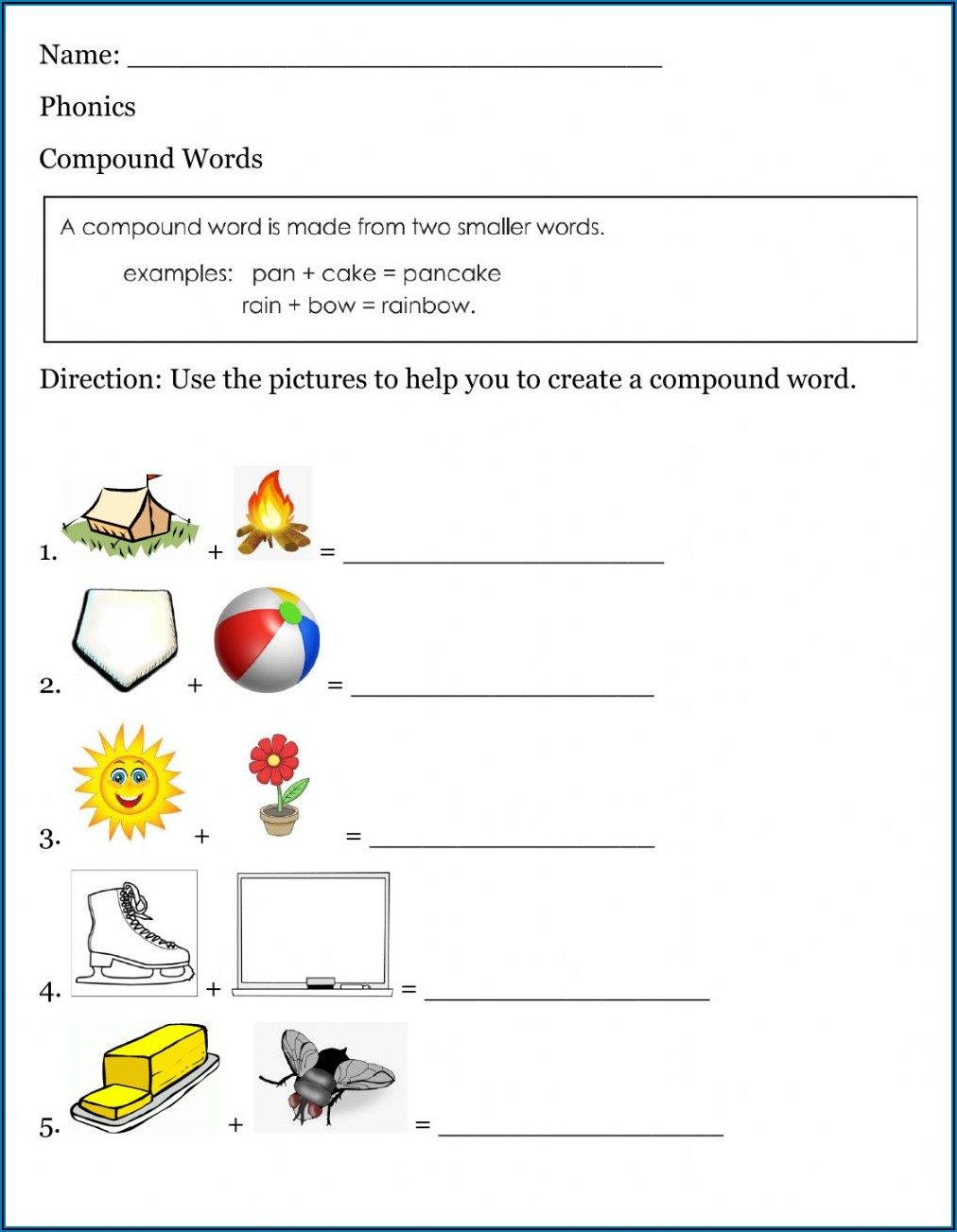 Compound Word Worksheets For Grade 4 With Answers