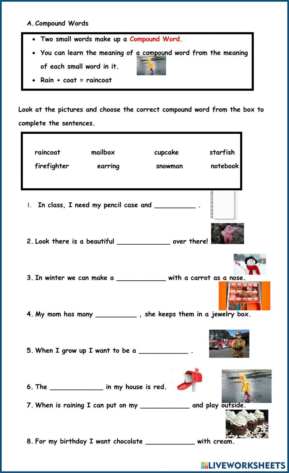 Compound Words Worksheet For 3rd Grade