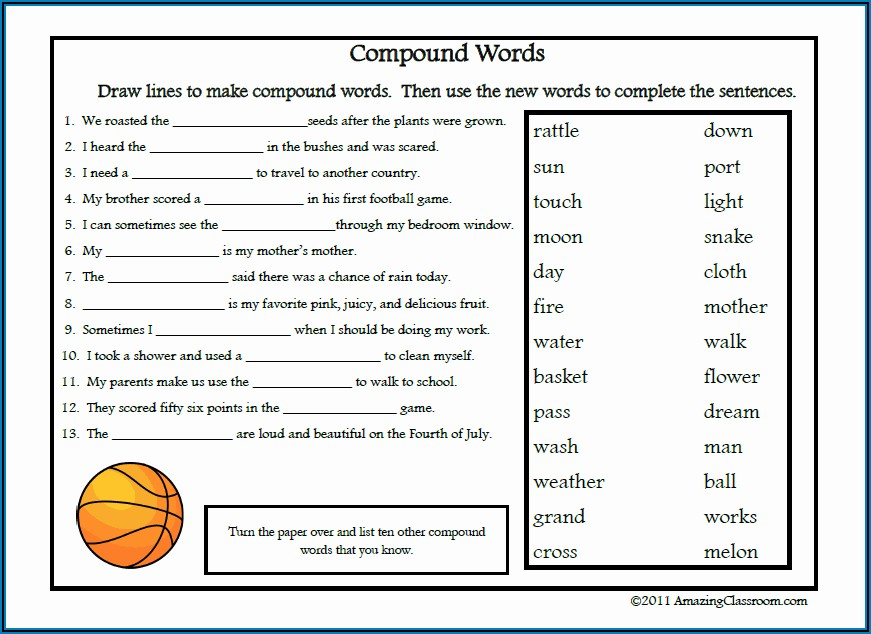 Compound Words Worksheet For Class 4