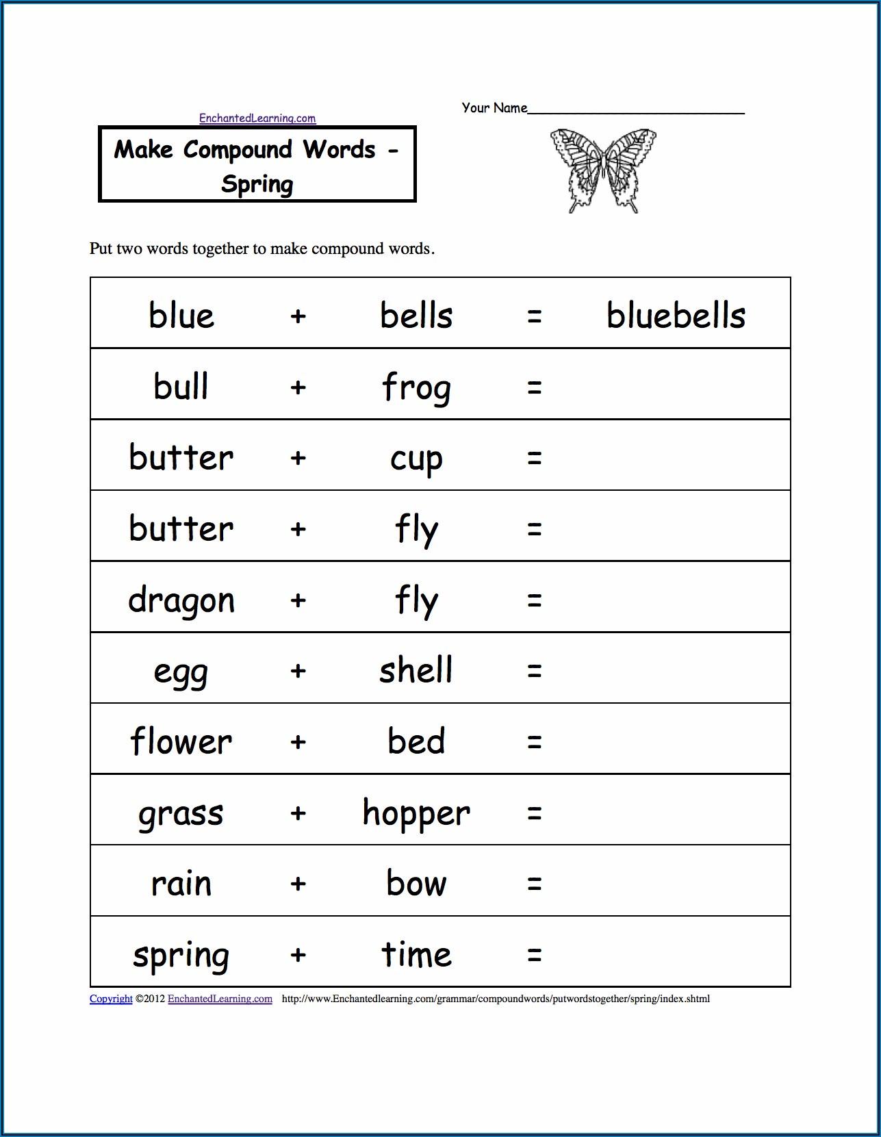 Compound Words Worksheet For Grade 3 Pdf