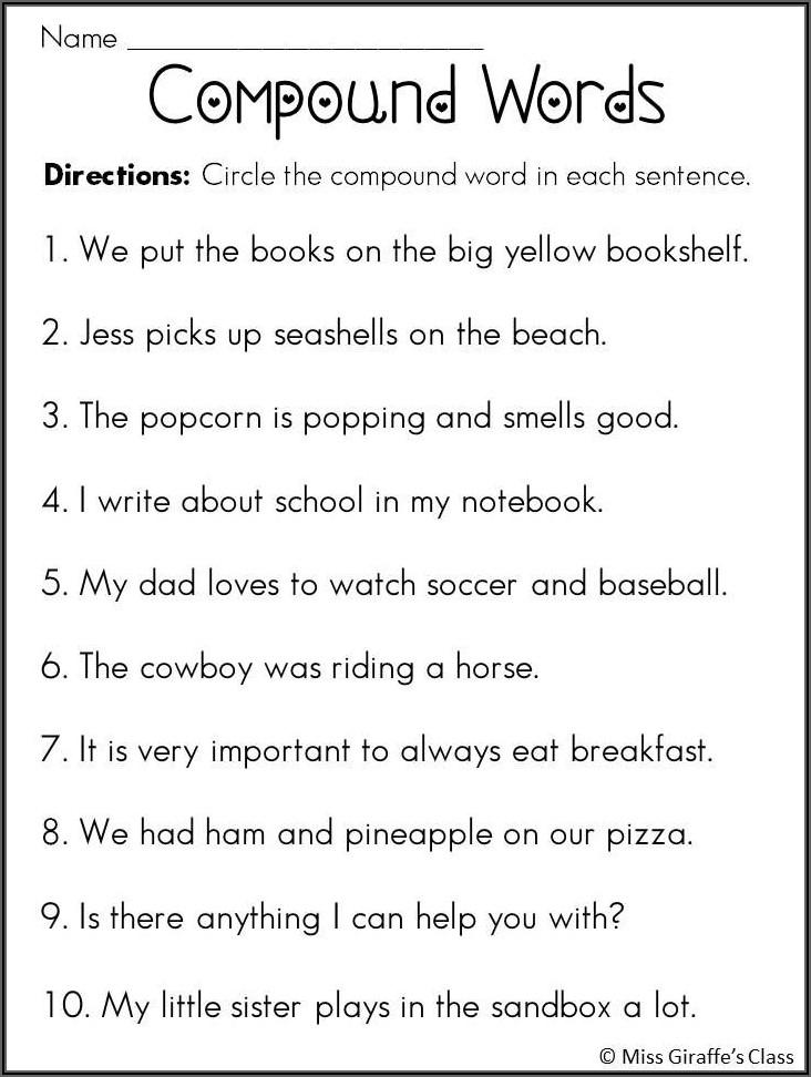 Compound Words Worksheet Grade 10
