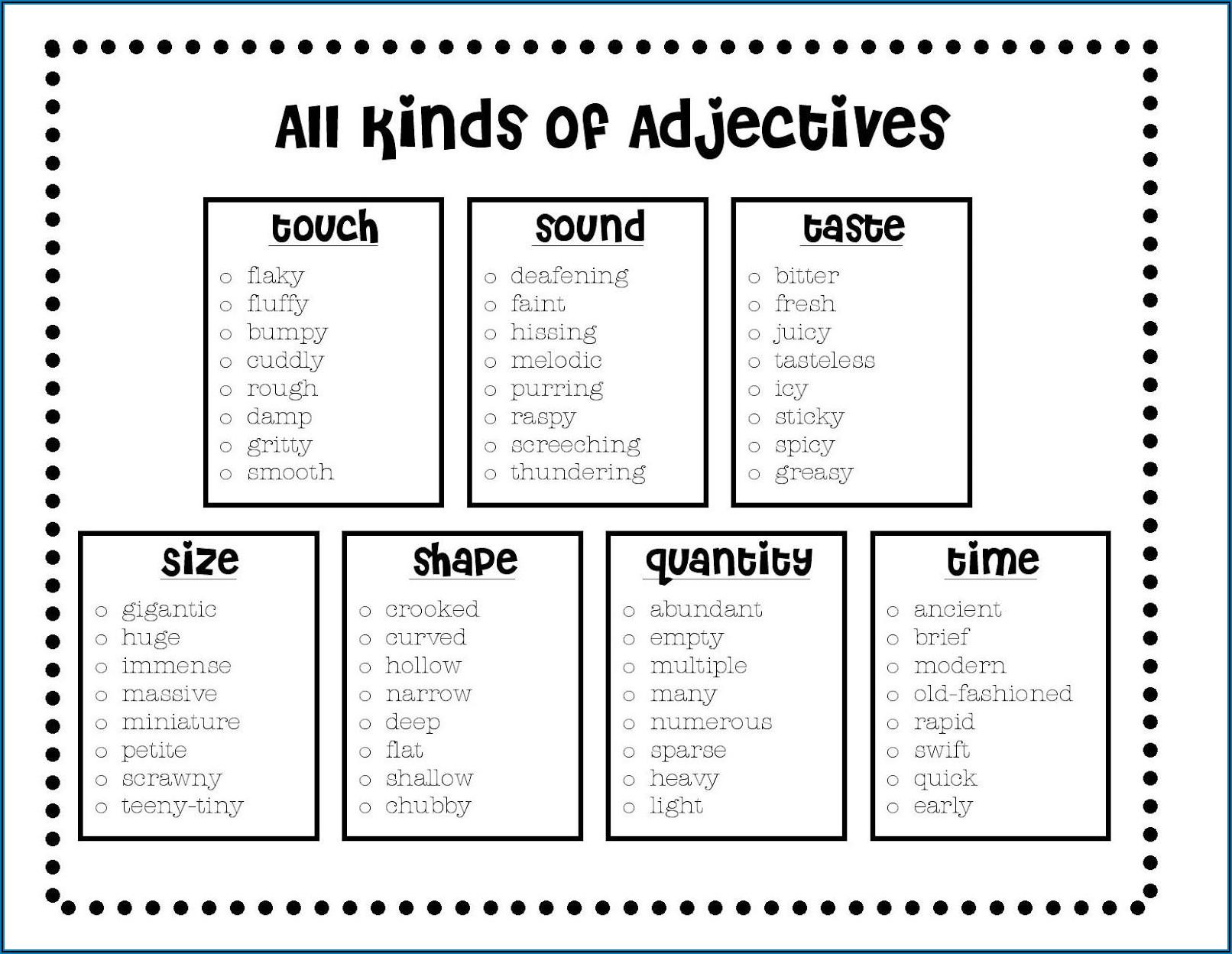 Descriptive Adjectives Worksheet Grade 5