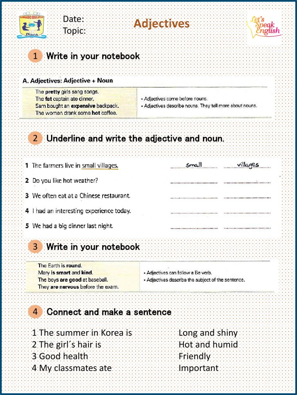 Descriptive Words Worksheet 5th Grade