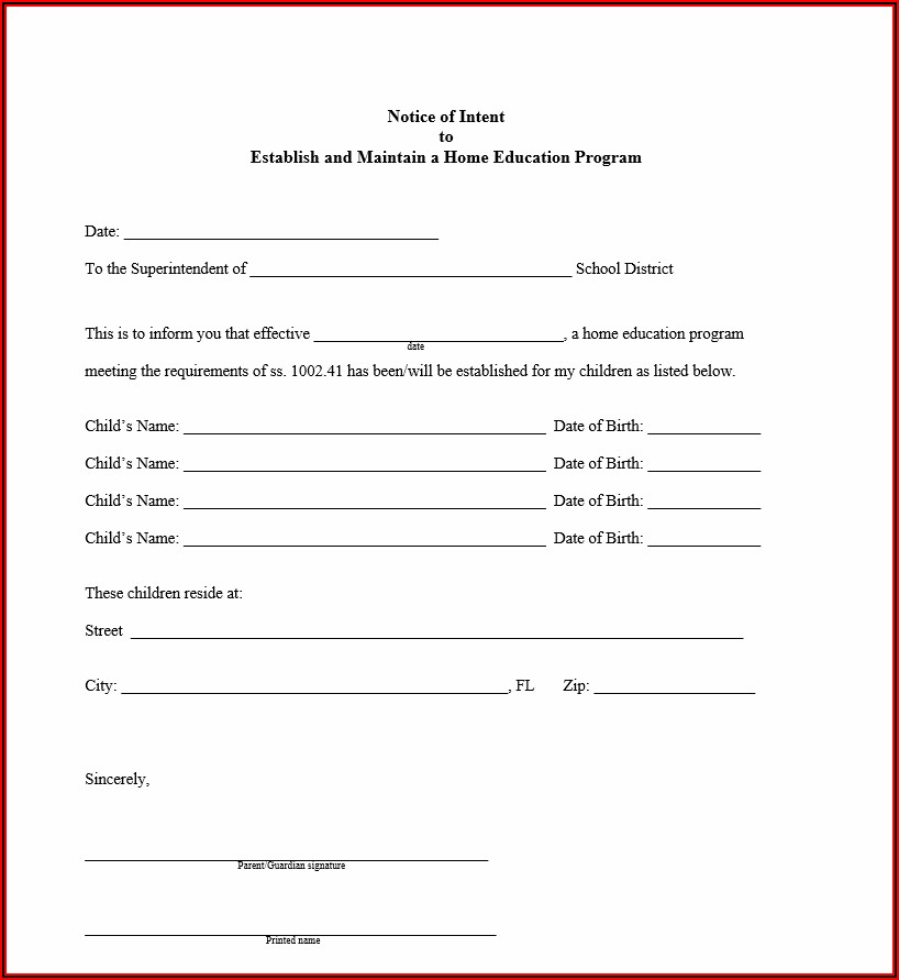 Florida Department Of Education Letter Of Intent To Homeschool