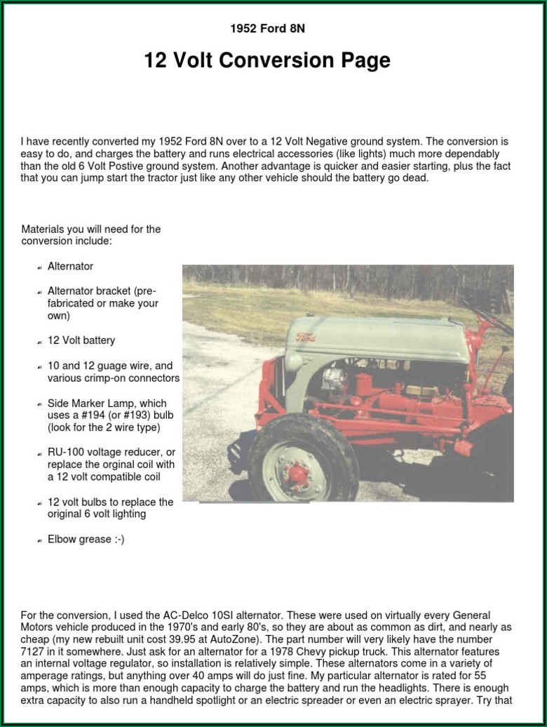 Ford 8n 6 To 12 Volt Conversion Wiring Diagram